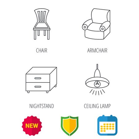 armchair shopping: Ceiling lamp, nightstand and armchair icons. Chair linear sign. Shield protection, calendar and new tag web icons. Vector