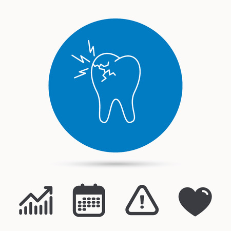 Toothache icon. Dental healthcare sign. Calendar, attention sign and growth chart. Button with web icon. Vector