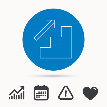 upstairs: Upstairs icon. Direction arrow sign. Calendar, attention sign and growth chart. web icon. Vector