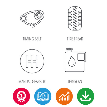 timing belt: Wheel, manual gearbox and timing belt icons. Fuel jerrycan, manual transmission linear signs. Award medal, growth chart and opened book web icons. Download arrow. Vector Illustration