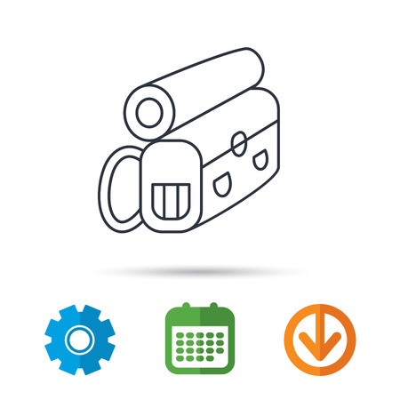 Backpack icon. Travel equipment sign. Back to school symbol. Calendar, cogwheel and download arrow signs. Colored flat web icons. Vector
