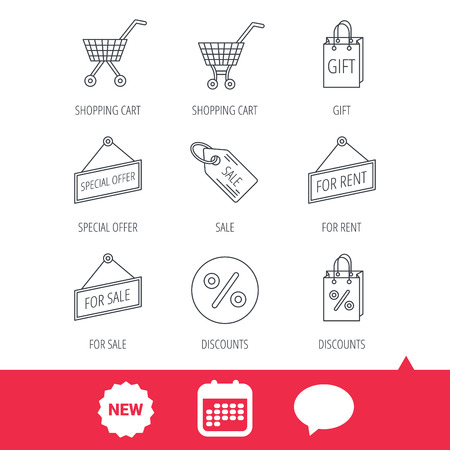 Shopping Cart, Gift Bag And Sale Coupon Icons. Special Offer ...