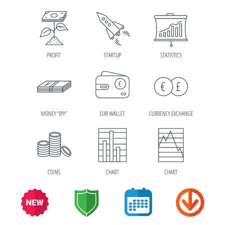 deceleration: Profit investment, cash money and startup rocket icons. Wallet, currency exchange and euro linear signs. Chart, coins and statistics icons. New tag, shield and calendar web icons. Download arrow Illustration