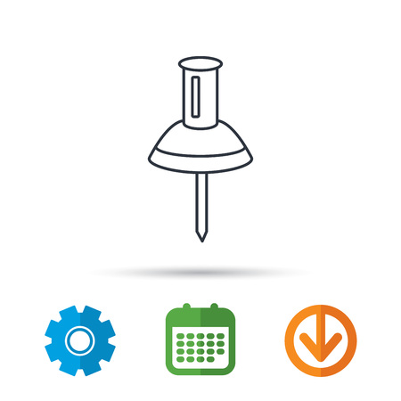 Pushpin icon. Pin tool sign. Office stationery symbol. Calendar, cogwheel and download arrow signs. Colored flat web icons. Vector
