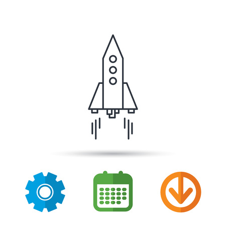 Rocket icon. Startup business sign. Spaceship shuttle symbol. Calendar, cogwheel and download arrow signs. Colored flat web icons. Vector