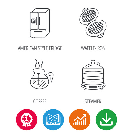 american downloads: Waffle-iron, coffee and steamer icons. American style fridge linear signs. Award medal, growth chart and opened book web icons. Download arrow. Vector