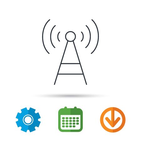 tv tower: Telecommunication tower icon. Signal sign. Wireless wifi network symbol. Calendar, cogwheel and download arrow signs. Colored flat web icons. Vector