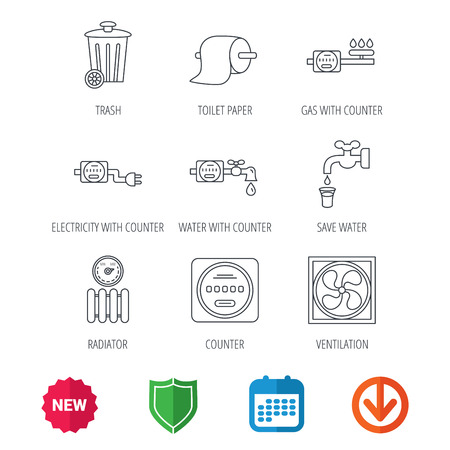 canalization: Ventilation, radiator and water counter icons. Toiler paper, gas and electricity counters linear signs. Trash icon. New tag, shield and calendar web icons. Download arrow. Vector