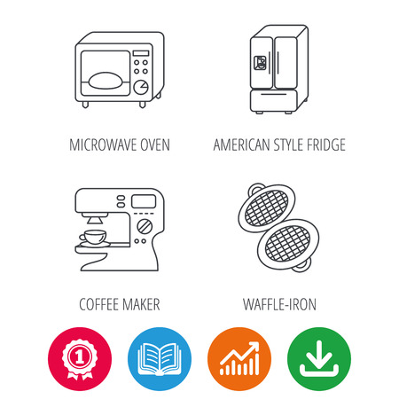 american downloads: Microwave oven, waffle-iron and American style fridge icons. Coffee maker linear sign. Award medal, growth chart and opened book web icons. Download arrow. Vector