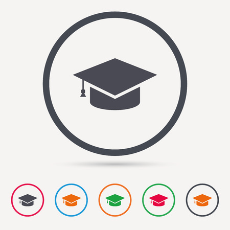 Education icon. Graduation cap symbol. Round circle. Colored flat web icons. Vector Illustration