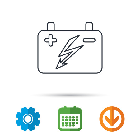 emitter: Accumulator icon. Electrical battery sign. Calendar, cogwheel and download arrow signs. Colored flat web icons. Vector Illustration