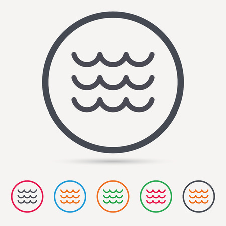 water stream: Wave icon. Water stream symbol. Round circle buttons. Colored flat web icons. Vector