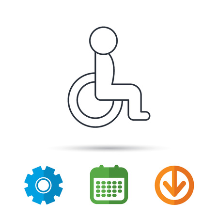 Disabled person icon. Human on wheelchair sign. Patient transportation symbol. Calendar, cogwheel and download arrow signs. Colored flat web icons. Vector