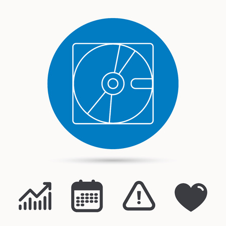 Harddisk icon. Hard drive storage sign. Calendar, attention sign and growth chart. Button with web icon. Vector