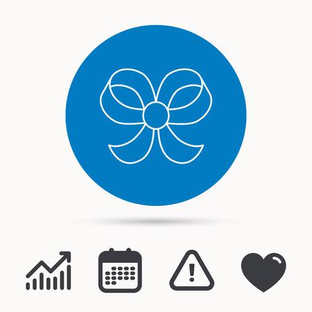 Bow-Symbol. Geschenk-Schleife-Knoten-Zeichen. Kalender, Aufmerksamkeitszeichen und Wachstumstabelle. Schaltfläche mit Web-Symbol. Vektor Illustration