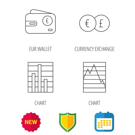 deceleration: Currency exchange, chart and euro wallet icons. Statistics graph linear signs. Shield protection, calendar and new tag web icons. Vector Illustration