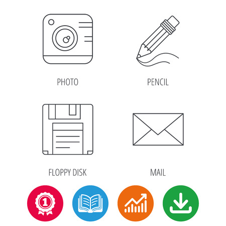 Photo camera, pencil and mail icons. Floppy disk linear sign. Award medal, growth chart and opened book web icons. Download arrow. Vector