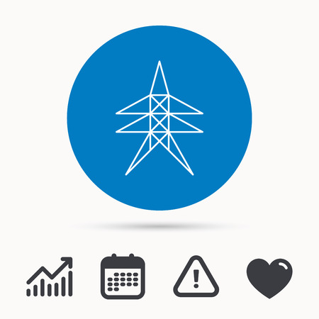 high voltage: Electricity station icon. Power tower sign. Calendar, attention sign and growth chart. Button with web icon. Vector