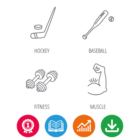 Baseball Ice Hockey And Fitness Sport Icons Muscle Linear Sign