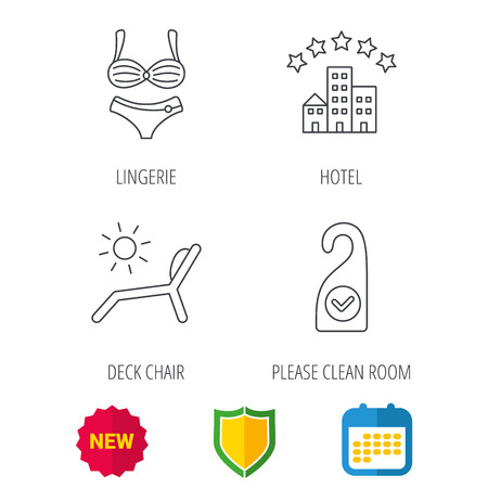 Hotel, lingerie and beach deck chair icons. Clean room linear sign. Shield protection, calendar and new tag web icons. Vector Illustration