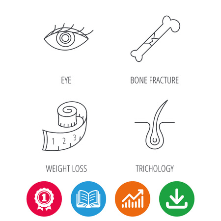 opened eye: Bone fracture, weight loss and trichology icons. Eye linear sign. Award medal, growth chart and opened book web icons. Download arrow. Vector Illustration