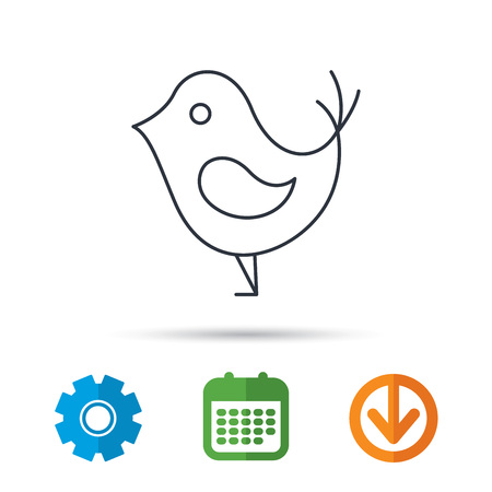 Bird with beak icon. Cute small fowl symbol. Social media concept sign. Calendar, cogwheel and download arrow signs. Colored flat web icons. Vector