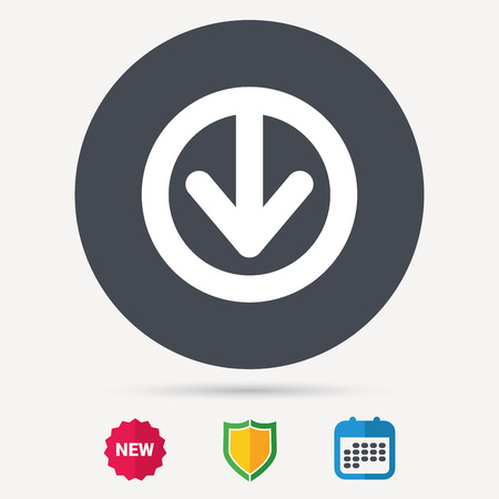 Download icon. Load internet data symbol. Calendar, shield protection and new tag signs. Colored flat web icons. Vector