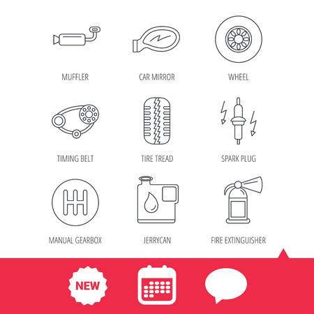 Wheel, car mirror and timing belt icons. Fire extinguisher, jerrycan and manual gearbox linear signs. Muffler, spark plug icons. New tag, speech bubble and calendar web icons. Vector