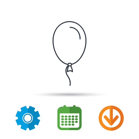 Balloon icon. Party decoration symbol. Inflatable object for celebration sign. Calendar, cogwheel and download arrow signs. Colored flat web icons. Vector