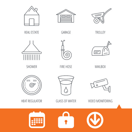 Real estate, garage and heat regulator icons. Trolley, fire hose and mailbox linear signs. Shower, glass of water and video monitoring icons. Download arrow, locker and calendar web icons. Vector