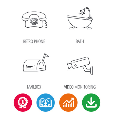 Retro phone, video camera and mailbox icons. Bath linear sign. Award medal, growth chart and opened book web icons. Download arrow. Vector Illustration
