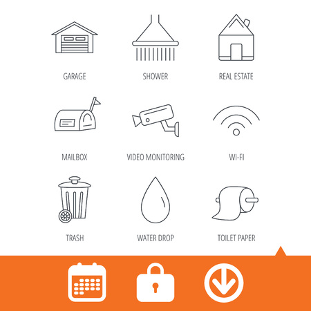 Wi-fi, video monitoring and real estate icons. Toilet paper, shower and water drop linear signs. Trash, garage flat line icons. Download arrow, locker and calendar web icons. Vector