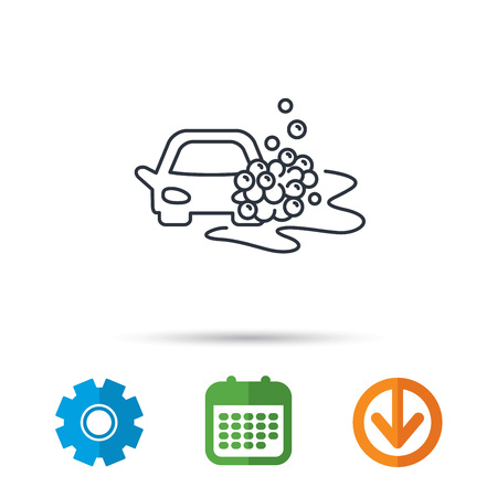 Car wash icon. Cleaning station sign. Foam bubbles symbol. Calendar, cogwheel and download arrow signs. Colored flat web icons. Vector Illustration