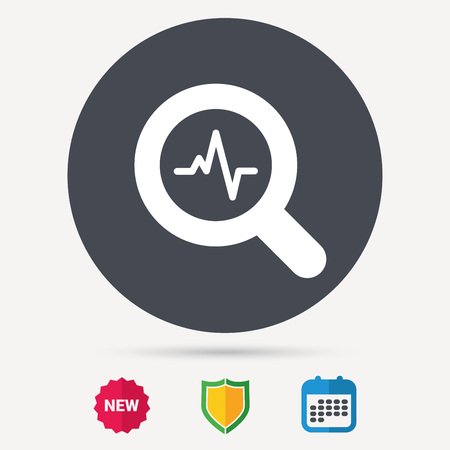 Heartbeat in magnifying glass icon. Cardiology symbol. Medical pressure sign. Calendar, shield protection and new tag signs. Colored flat web icons. Vector
