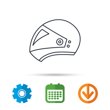 Motorcycle helmet icon. Biking sport sign. Calendar, cogwheel and download arrow signs. Colored flat web icons. Vector