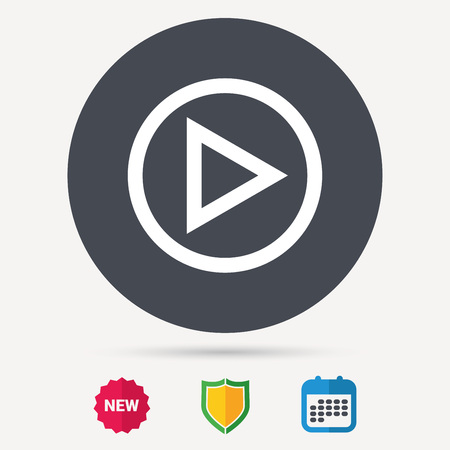 Play icon. Audio or Video player symbol. Calendar, shield protection and new tag signs. Colored flat web icons. Vector