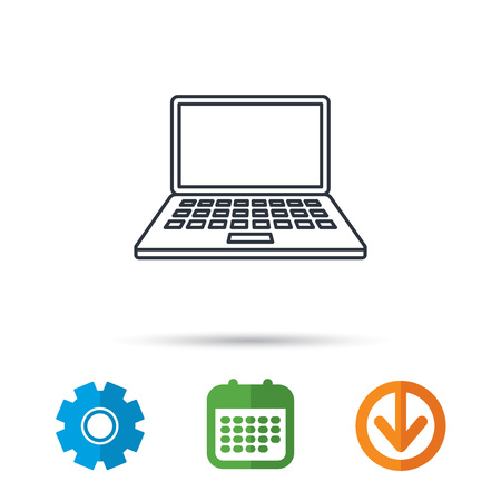 Notebook icon. Mobile laptop sign. Calendar, cogwheel and download arrow signs. Colored flat web icons. Vector Illustration