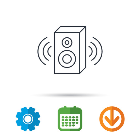 sound box: Sound icon. Musical speaker sign. Calendar, cogwheel and download arrow signs. Colored flat web icons. Vector Illustration