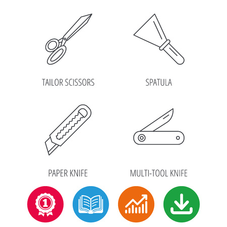 Paper Knife Spatula And Scissors Icons Multi Tool Knife Linear