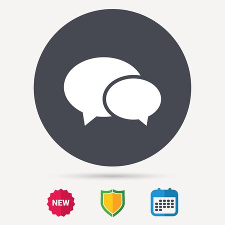 Chat icon. Speech bubble symbol. Calendar, shield protection and new tag signs. Colored flat web icons. Vector