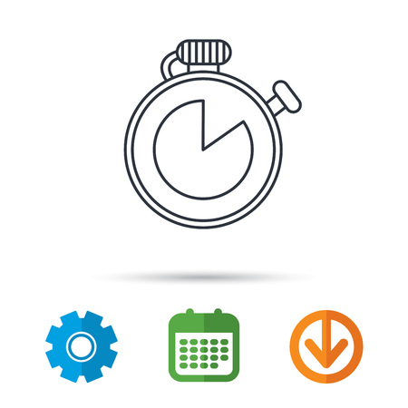 run down: Timer icon. Stopwatch sign. Sport competition symbol. Calendar, cogwheel and download arrow signs. Colored flat web icons. Vector Illustration
