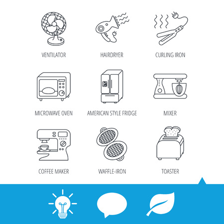 steam iron: Microwave oven, hair dryer and blender icons. Refrigerator fridge, coffee maker and toaster linear signs. Ventilator, curling iron and waffle-iron icons. Light bulb, speech bubble and leaf web icons