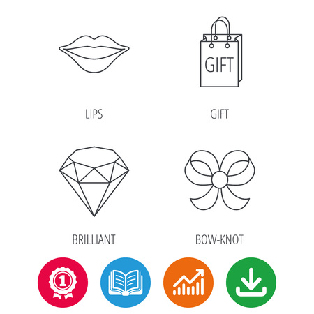 Lips Kiss Brilliant And Gift Icons Bow Knot Linear Sign Award