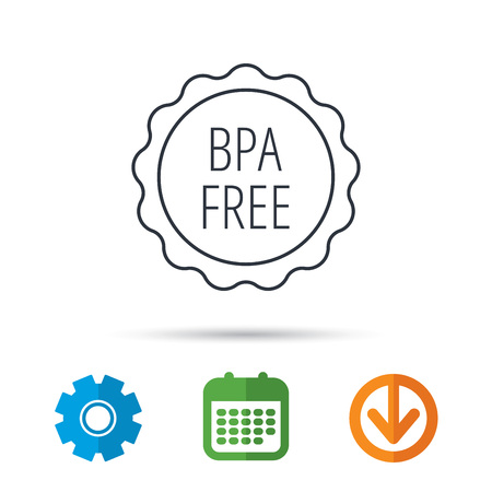 phthalates: BPA free icon. Bisphenol plastic sign. Calendar, cogwheel and download arrow signs. Colored flat web icons. Vector