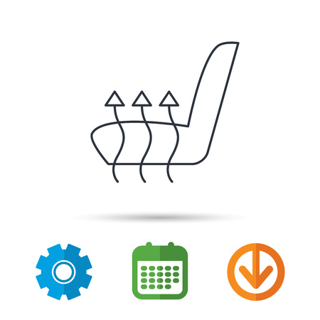 heated: Heated seat icon. Warm autoarmchair sign. Calendar, cogwheel and download arrow signs. Colored flat web icons. Vector