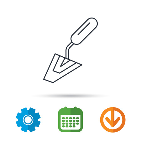 Spatula icon. Finishing repair tool sign. Calendar, cogwheel and download arrow signs. Colored flat web icons. Vector