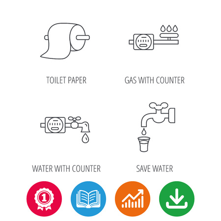 Toilet paper, gas and water counter icons. Save water linear sign. Award medal, growth chart and opened book web icons. Download arrow. Vector