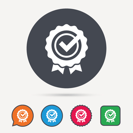 Award medal icon. Winner emblem with tick symbol. Circle, speech bubble and star buttons. Flat web icons. Vector