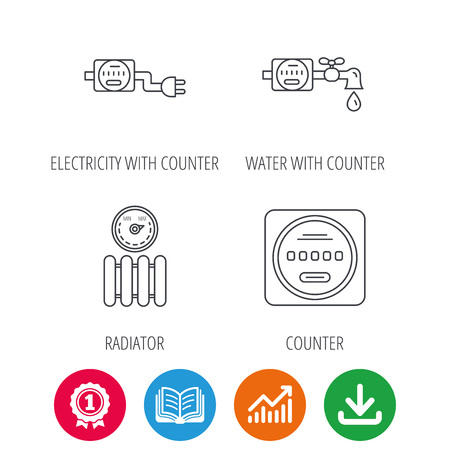 Electricity, radiator and water counter icons. Counter linear sign. Award medal, growth chart and opened book web icons. Download arrow. Vector Illustration