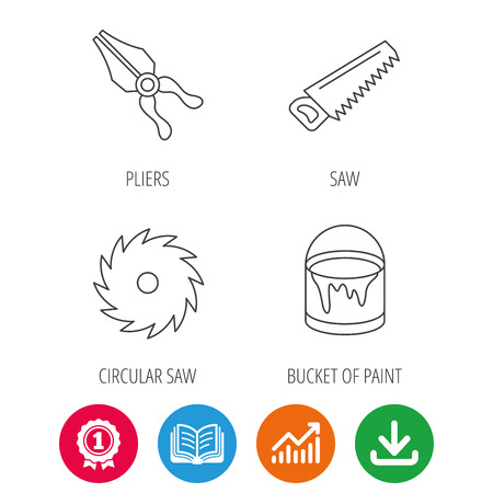 Pliers, circular saw and bucket of paint icons. Saw linear signs. Award medal, growth chart and opened book web icons. Download arrow. Vector Illustration